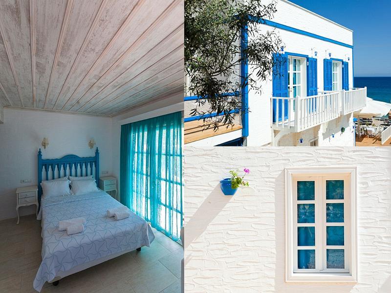 otel mavi beyaz odaları