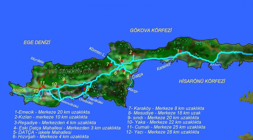 datça mahalleleri haritası