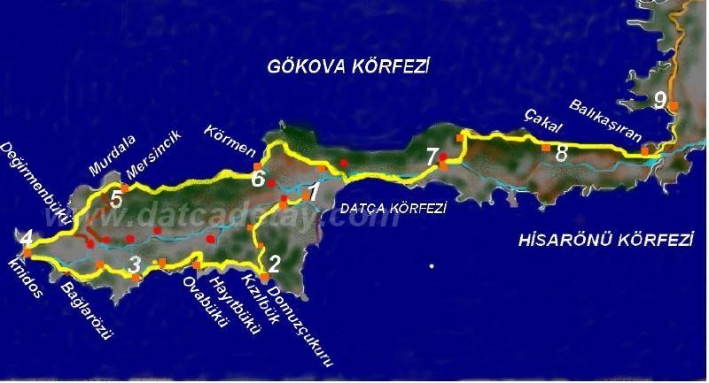 datça karia yolları haritası