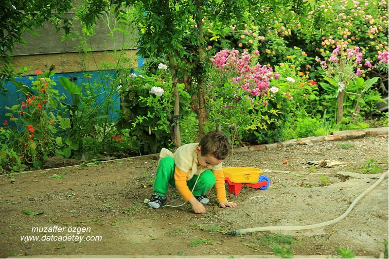 bahçede oynayan çocuk