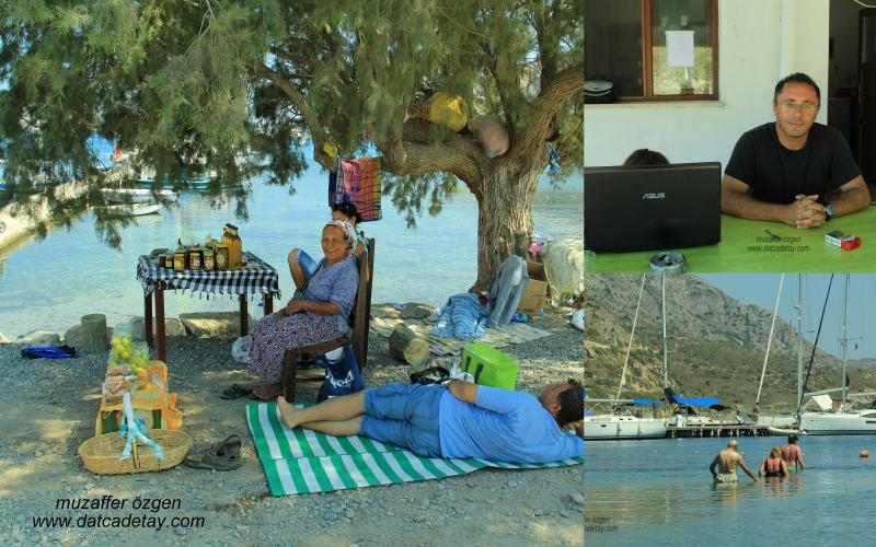 knidos'ta köy ürünleri satan köylüler