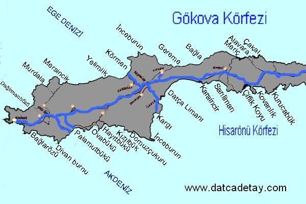datça tekne gezisi haritası
