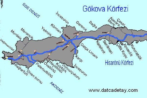 datça koyları haritası
