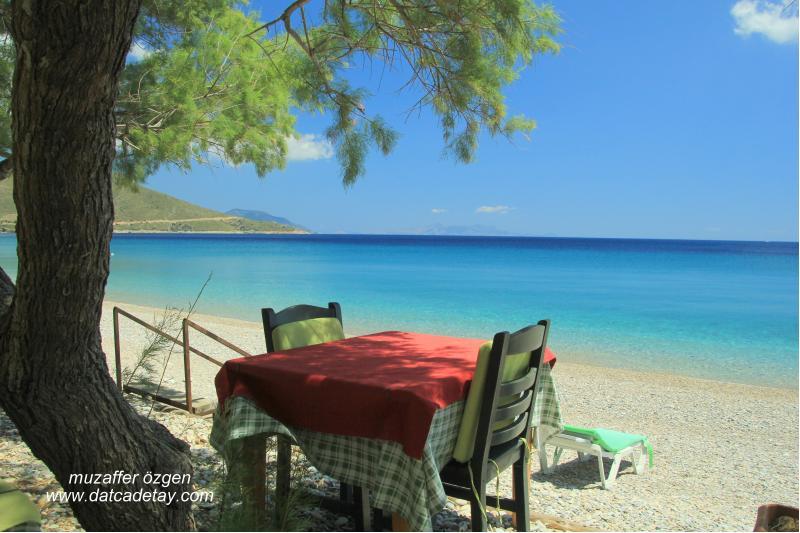 palamutbükü sahilinde masalar