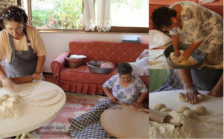 yufka ekmek yapımında hamur açma