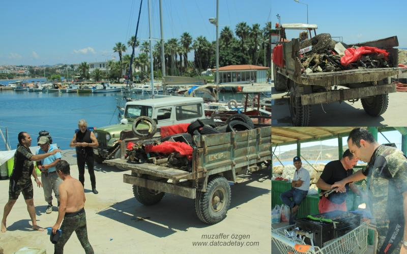 datça limanından çıkarılan çöpler