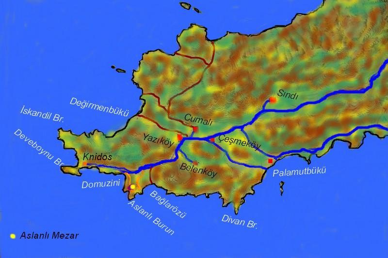 knidos arslanlı mezar haritası