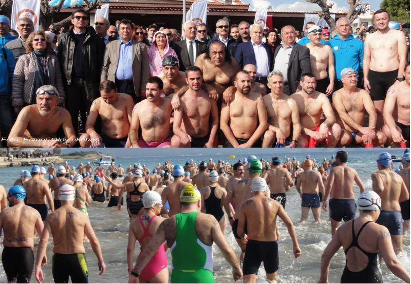 datça açık deniz kış yüzme maratonu yapıldı