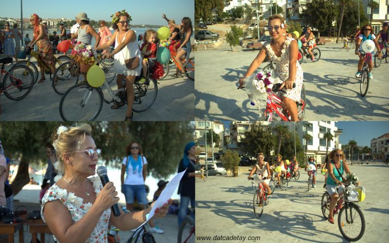 datçalı süsülü kadınlar bisikletleri ile