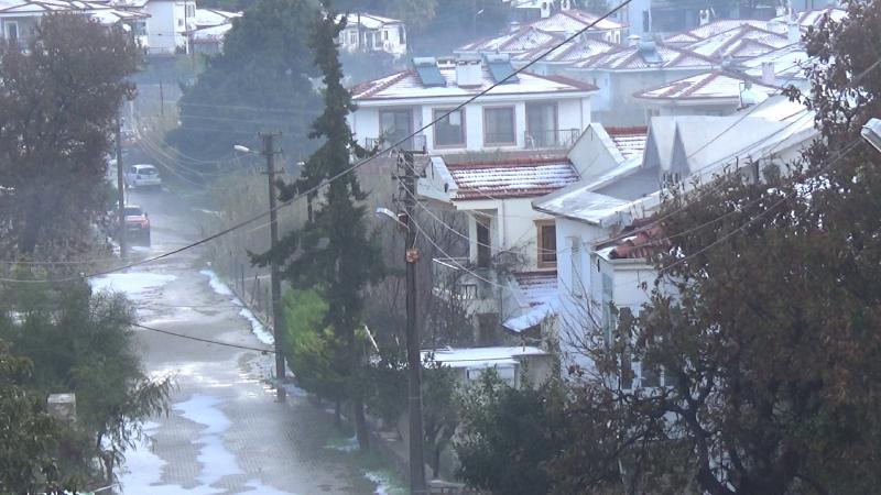 datça'da kar görüntüsü