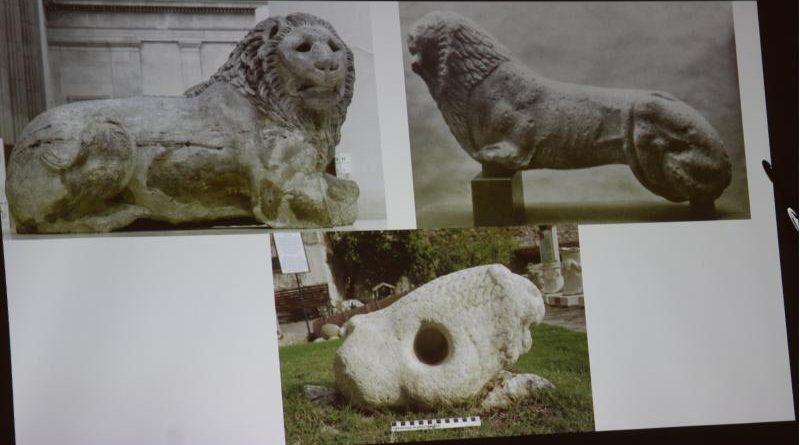 knidos'ta bulunmuş aslan heykelleri